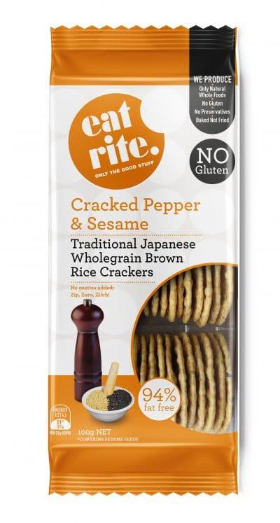 Wholegrain Brown Rice Black Pepper & Sesame Crackers 100g 1