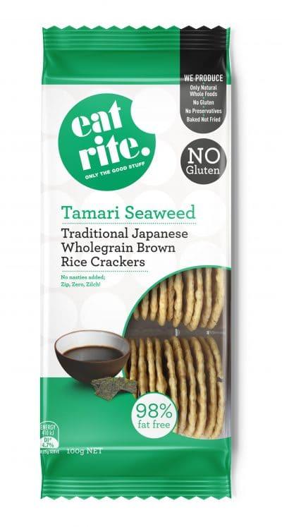 Wholegrain Brown Rice Tamari Seaweed Crackers 1